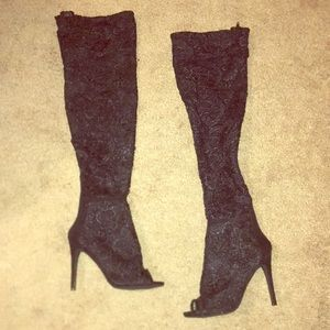 Open toe Lace thigh high boots